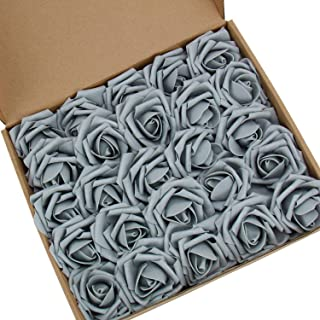 N&T NIETING Artificial Flowers Roses, 25pcs Real Touch Artificial Foam Roses Decoration DIY for Wedding Bridesmaid Bridal Bouquets Centerpieces, Party Decoration, Home Display(Gray)