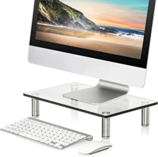 FITUEYES Clear Computer Monitor Riser Save Space Desktop Stand for Xbox One/Component/Flat Screen TV DT103801GC