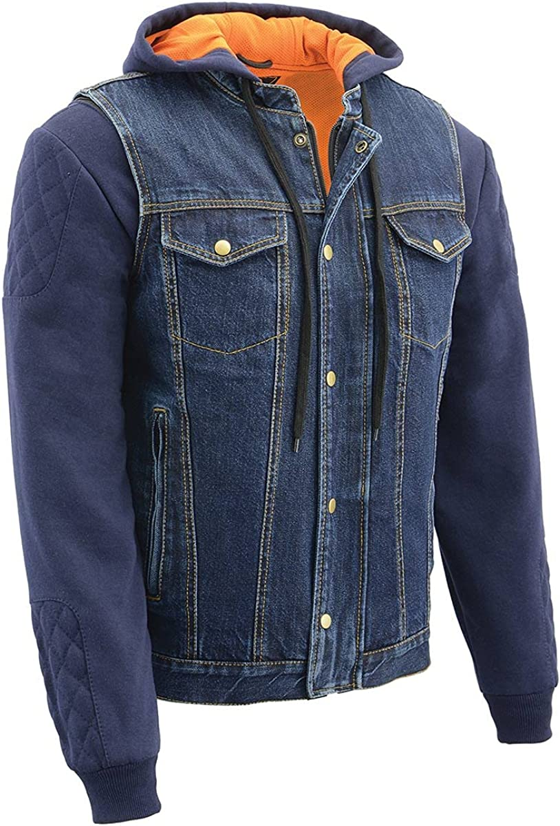 Milwaukee Leather MDM3020 Men's Blue Denim 3 in 1 Club Style Vest with Removable Hoodie