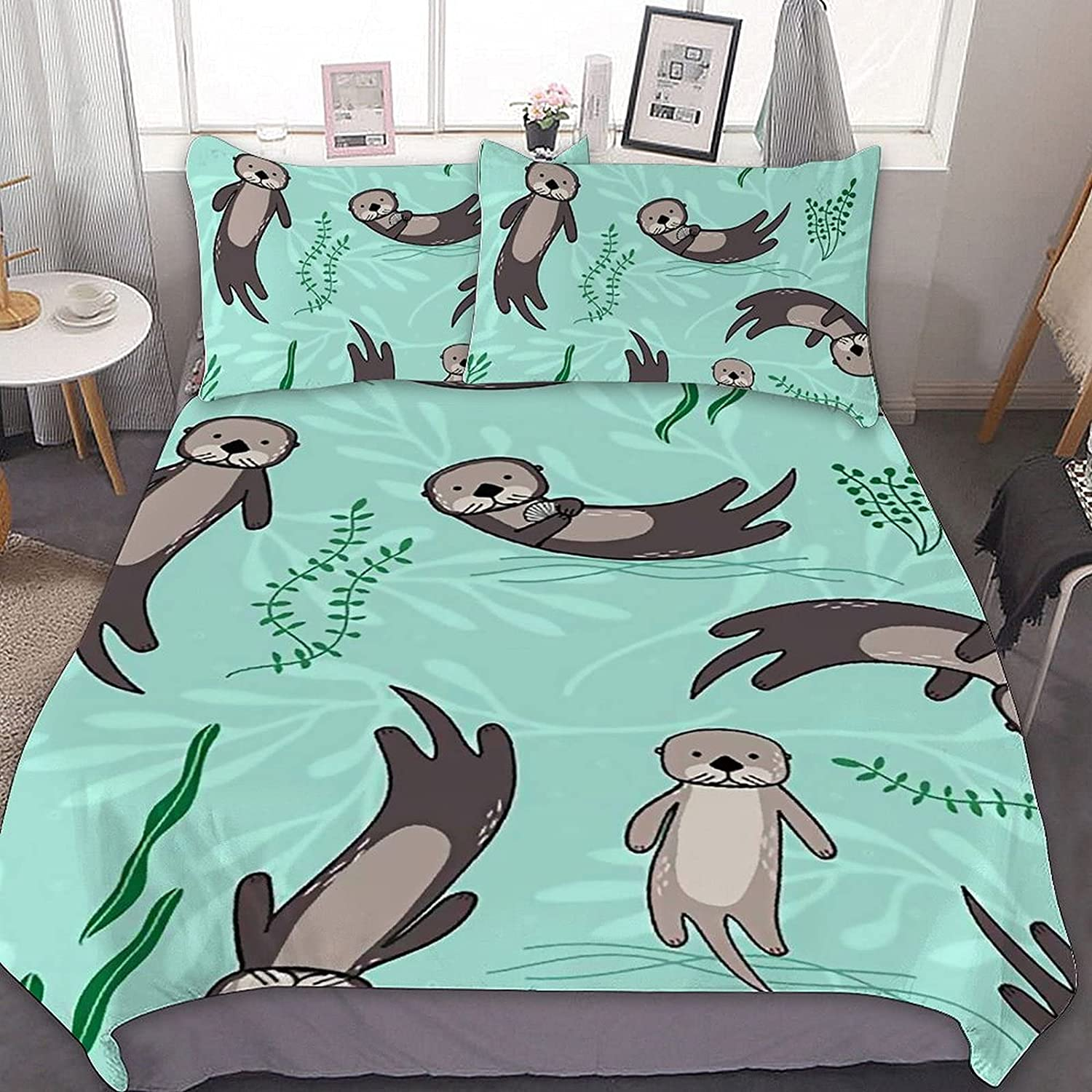 PNNUO Cute Sea Otters Queen Bed Set Size Over item handling Import Twin Comforte King Full