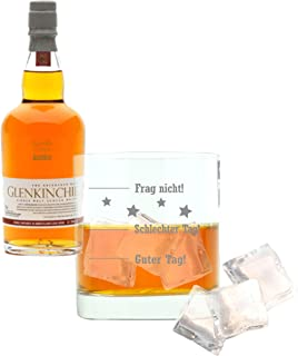 Whiskey 2er Set, Glenkinchie 12 Years / Jahre, Single Malt, Whisky, Scotch, Alkohol, Alokoholgetränk, Flasche, 43%, 200 ml, 605317, Geschenk zum Vatertag, mit graviertem Glas