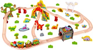 Pidoko Kids Wooden Train Set - 81 Pcs Dinosaur Edition - Railway Tracks and Accessories Magnetic Cars - Compatible with Thomas, Chuggington Toddler Toys