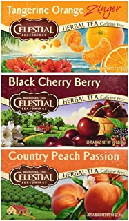 Celestial Seasonings Caffeine Free Herbal Tea 3 Flavor Variety Bundle, (1) each: Tangerine Orange, Black Cherry Berry, Cou...