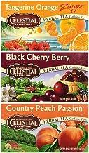 Celestial Seasonings Caffeine Free Herbal Tea 3 Flavor Variety Bundle, (1) each: Tangerine Orange, Black Cherry Berry, Country Peach Passion (20 Count)