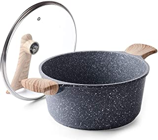 Caannasweis Nonstick Cookware, Stone Nonstick Coating Casserole Dish with lid, Cooking Soup Pan Saucepan with Granite Coat...