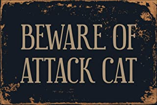"StickerPirate Beware Of Attack Cat 8"" x 12"" Vintage Aluminum Retro Metal Sign VS459"