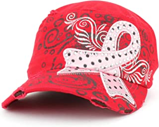 Trendy Apparel Shop Studded Pink Ribbon Breast Cancer Frayed Flat Top Style Army Cap