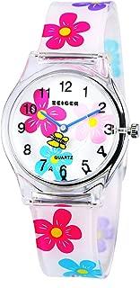 Zeiger Time Teacher Teen Young Girls Children Kids Watches, Colorful Flower Resin Band