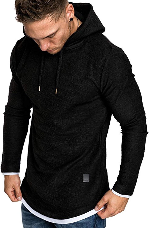Rela Bota Mens Athletic Fashion Hoodies Shirts - Casual Hooded Solid Color Sweatshirt Sport Pullover