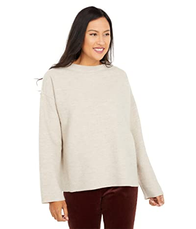 Eileen Fisher Lightweight Boiled Wool Funnel Neck Box Top (Maple Oat) Women