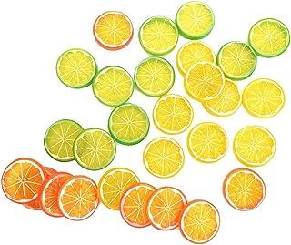 IETONE 30 Pieces Artificial Plastic Simulation Fake Lemon Slices Lifelike Decorative Fake Fruit-Mixed