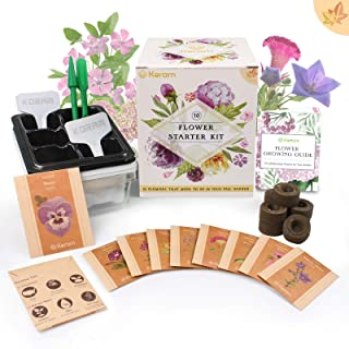 KORAM Flower Starter Kits Home Garden Kit - 10 Organic Fall Flower Seed Packets DIY Inside Garden Set Growing Kit with Everything a Gardener Needs for Growing Pansy, African Daisy, Celosia, Petunia