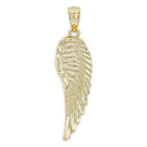 Authentic 10K Yellow Gold Angel Pendant Charm Diamond Cut 6 Sizes