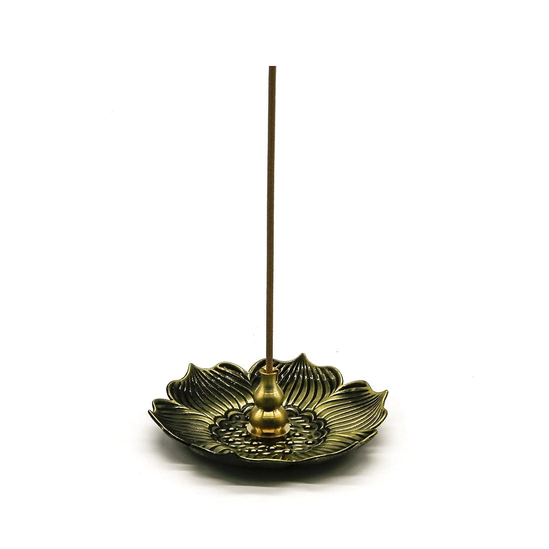 特性遮る発掘するomonicブロンズLotus Dish Stick Incense Burnerホルダー(スティック/コーン/コイルIncense )アロマセラピー炉Diffuser forホームインテリア