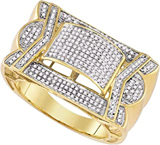 FB جواهر الذهب الأصفر 10kt رجل جولة الماس العنقودية خاتم 5/8 Cttw