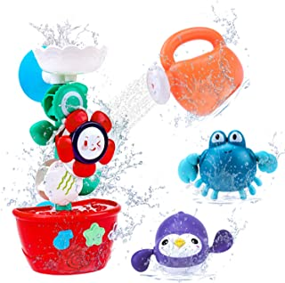 TSOMTTO Bath Toys Flower with 2 Wind Up Bath Toys for Toddlers Bathtub Water Play Set Bathing Time Waterfall Floating Toys...