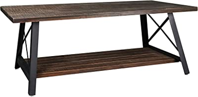 RANDEFURN Solid Wood Coffee Table, 48Lx24W x18H inches Pine Wood End Table, Metal Leg Side Table, Table with Storage Shelf, Entry Table with Rack, Rustic Brown/Grey