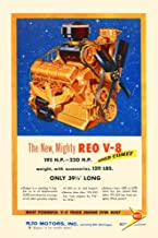 Ad for the most powerful v-8 truck engine ever built for th 50th anniversary of REO motors inc Poster Print by unknown (24 x 36)