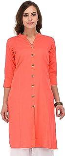 Vastraa Fusion Women Solid Straight Cotton Khadi Kurta/Kurti