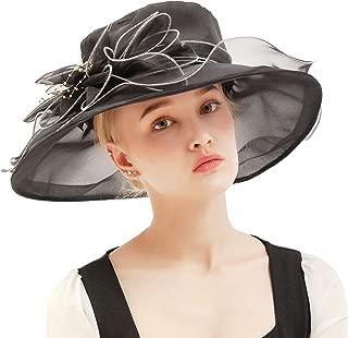 Felizhouse Fascinator Chruch Tea Hat Kentucky Derby Hats for Women Bridal Wedding Sun Hats