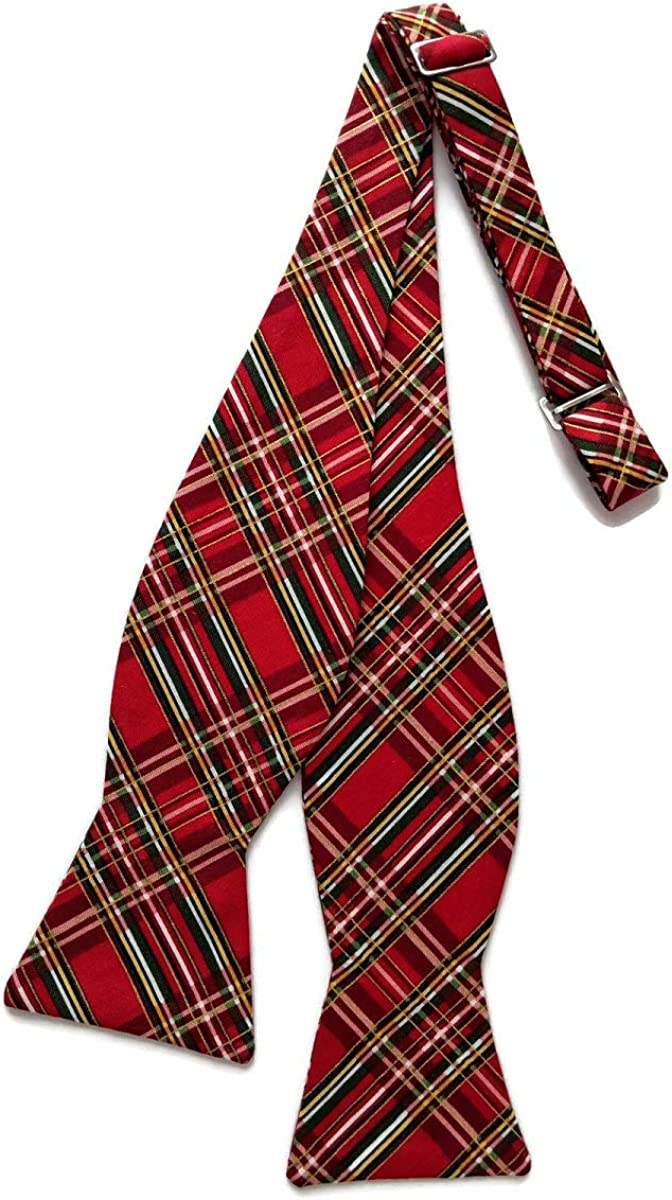 Holiday Bow Ties Mens Bow Tie Holiday Red Plaid with Gold Metallic Self-tie