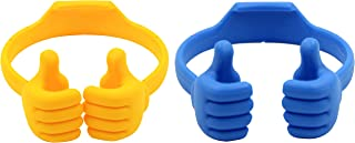 Honsky Thumbs-up Cell Phone Stands, Tablet Display Stands, Cellphone Holder, Mobile Smartphone Mount Cradle for Desk Desktop – Universal Multi-Angle Cute, 2 Packs, Yellow, Blue