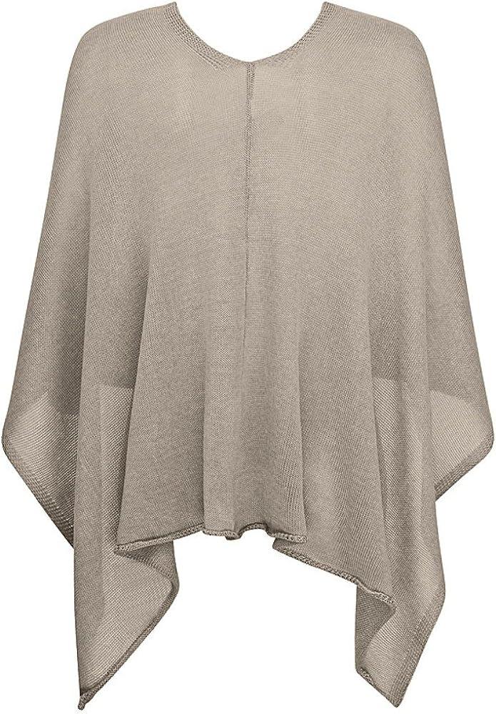 Mississhop Damen Poncho Cape Überwurf Strickjacke feiner weicher Strick Pullover Herbst Winter One Size Taupe