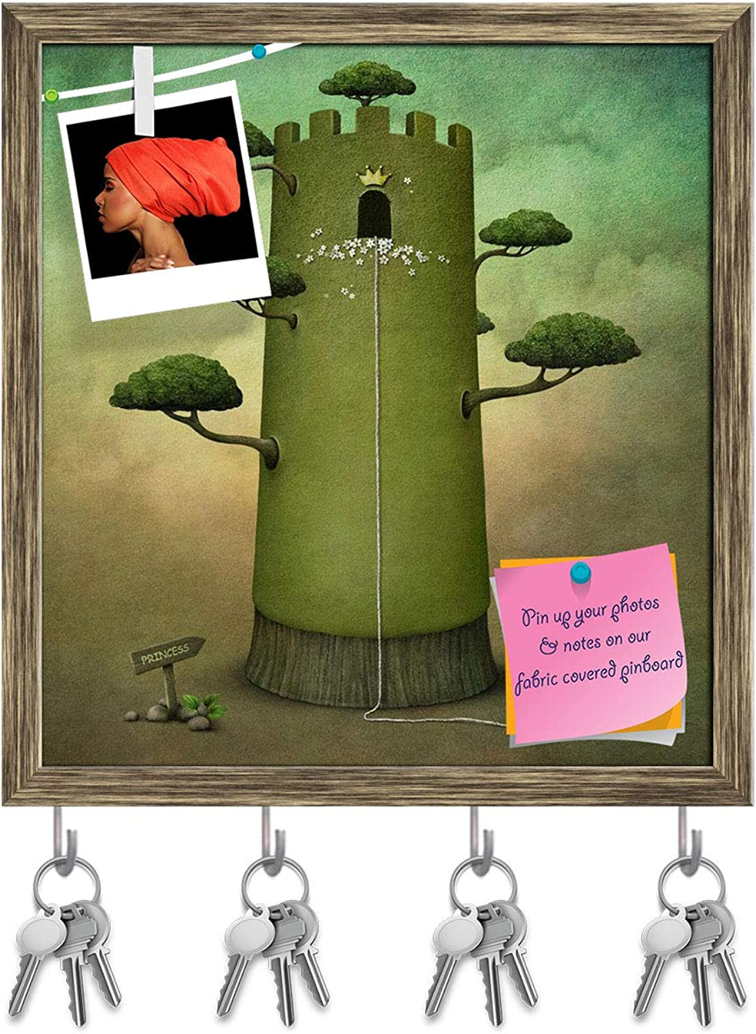 Artzfolio Fairy Tale with Tower & Trees Key Holder Hooks   Notice Pin Board   Antique golden Frame 16 X 17.1Inch