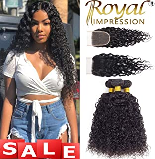 10A Brazilian Virgin Curly Hair 3 Bundles with Closure (22 24 26+20) Kinky Curly Weave Human Hair Bundles with Closure Free Part Unprocessed Virgin Remy Hair Bundles with Lace Closure Natural Color