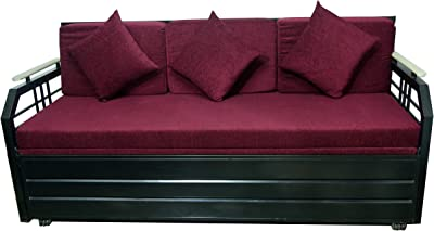 A1 Star Furniture Metal Matte Finish King Size Sofa Bed with Hydraulic Storage (Black)