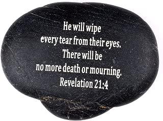Holy Land Market Engraved Inspirational Scripture Biblical Black Stones collection - Stone XI : Revelation 21:4 :