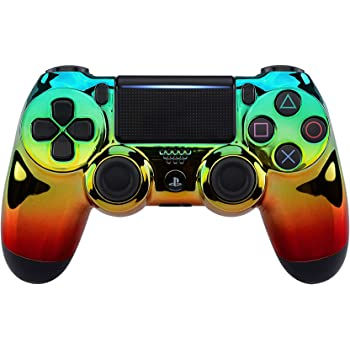 eXtremeRate Tri-Color Gradients Faceplate Cover, Chrome Cyan Gold Red Front Housing Shell Case for Playstation 4 PS4 Slim PS4 Pro Controller (CUH-ZCT2 JDM-040/050/055) - Controller NOT Included