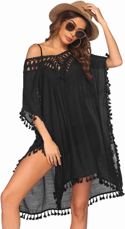 Ekouaer Swimsuit Cover Up for Women Swimwear Bathing Suit Dress Sexy Bikini Beach Crochet Beachwear Tunic Top S-XXL