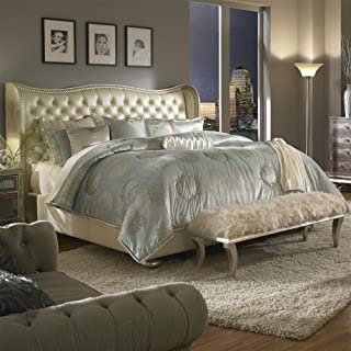 Hollywood Swank Eastern King Pearl Leather Bed By Aico Amini