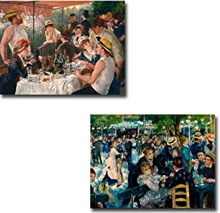 Luncheon of the Boating Party & Dance at the Moulin de la Galette by Pierre Auguste Renoir 2-pc Premium Gallery-Wrapped Canvas Giclee Art Set (Ready-to-Hang)