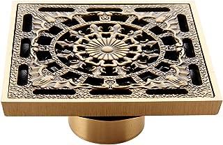 HARPOON Shower Floor Drain Cover Washer 4 inch Square Brass Bath Floor Drain Flower Art Carved Antique
