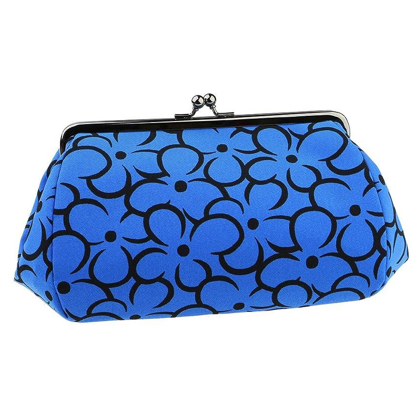 定期的なしおれたブルームwatona 花がま口 化粧ポーチ(スリム)50-55sh (5寸 スリムサイズ, ブルー)