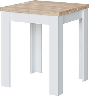 Habitdesign Mesa Auxiliar Extensible, Mesa Cocina, Acabado en Color Blanco Artik y Roble Canadian, Modelo Livre, Medidas: ...