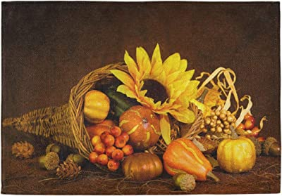 Amazon Com Oarencol Cornucopia Thanksgiving Sunflower Fall Harvest Autumn Pumpkin Placemats Table Mats Set Of 6 Heat Resistant Washable Clean Kitchen Place Mat For Dinging Home Office Decor Home Kitchen