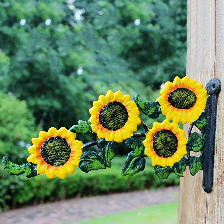 XUYRENP Vintage Garden Cast Iron Hook Garden Green Plant Basket Hook Sunflower Wall Hook