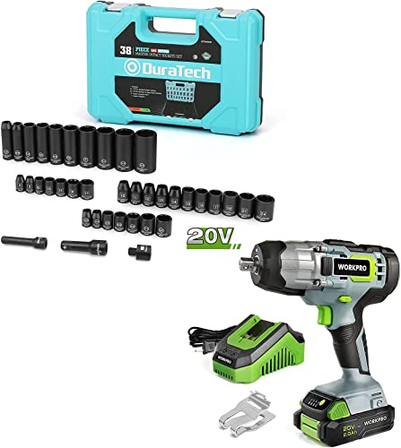 2021 WORKPRO popular 20V Cordless Impact Wrench and DURATECH 38 sale Piece 1/2&3/8 Inch Drive Impact Socket Set outlet sale