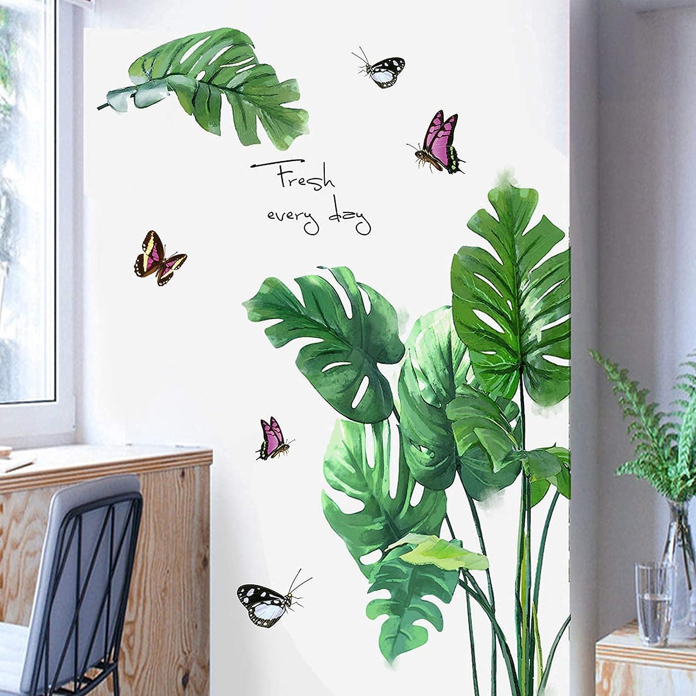 Tropical Plant Leaf Wall Sticker, Removable Peel & Stick Green Plants Butterflies Wallpaper Decals, DIY Art Mural for Kids Nursery Kitchen Bathroom Bedroom Decor
