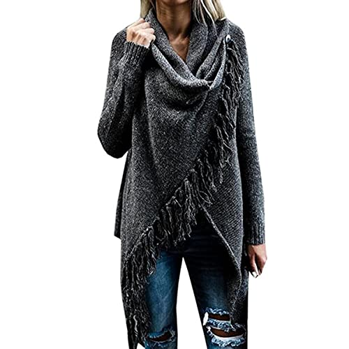 Fantastic Zone Women s Long Sleeve Speckled Fringe Open Front Cardigan  Sweaters for Women 53379cd03