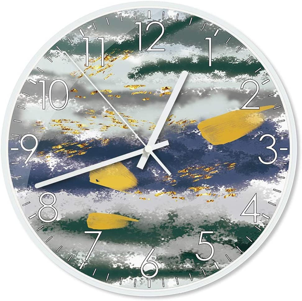 free shipping Wall Clock White Metal Surprise price Border Creative Pattern Abstract Round