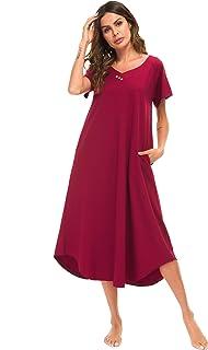 ثوب نوم حريمي من YOZLY مصنوع من القطن المحبوك ملابس نوم طويلة برقبة على شكل حرف V من مقاس S-XXL