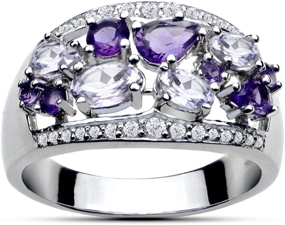 2021 autumn and winter new Ice Gems Sterling Large discharge sale Silver 2.4ct an Amethyst African TGW