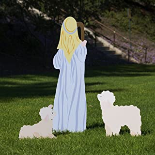 Outdoor Nativity Store Outdoor Nativity Set Add-on - Shepherd and Sheep (Large, Color)
