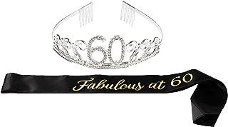 Happy Birthday Tiara and Sash Set – Rhinestone Queen Tiara with Fabulous at 60