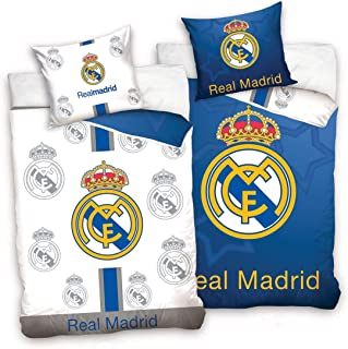 Real Madrid CF - Juego de Funda nórdica y Funda de Almohada Reversible, Color Azul y Blanco