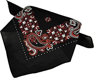 Black, White & Red Paisley Patterned Bandana Neckerchief